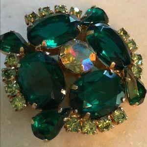 Vintage Prong-set Green Brooch